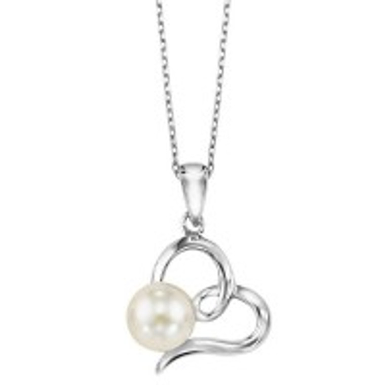 """Sterling Silver Heart with FreshWater Pearl 18"""" Necklace 83011251   Shin Brothers*"""