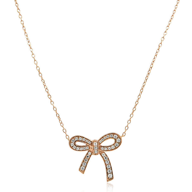 """14K Pink Gold 18"""" CZ Bow Necklace 32000558 
