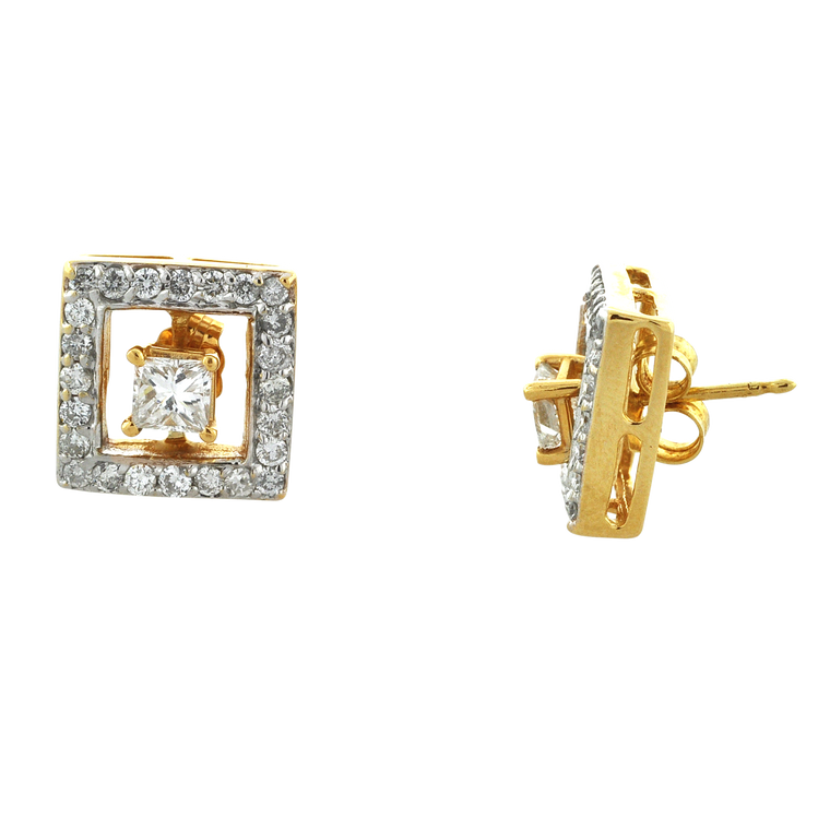 14K Yellow Gold 0.48ctw Diamond Square Earring Jackets 41060268 | Shin Brothers*