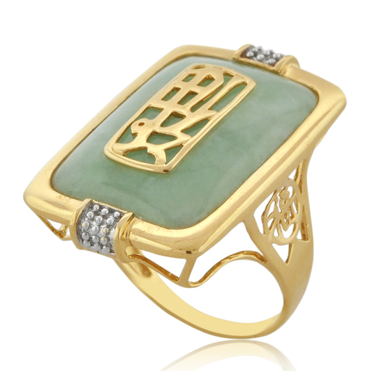 14K Yellow Gold Jade Good Fortune Ring 12002753 | Shin Brothers*