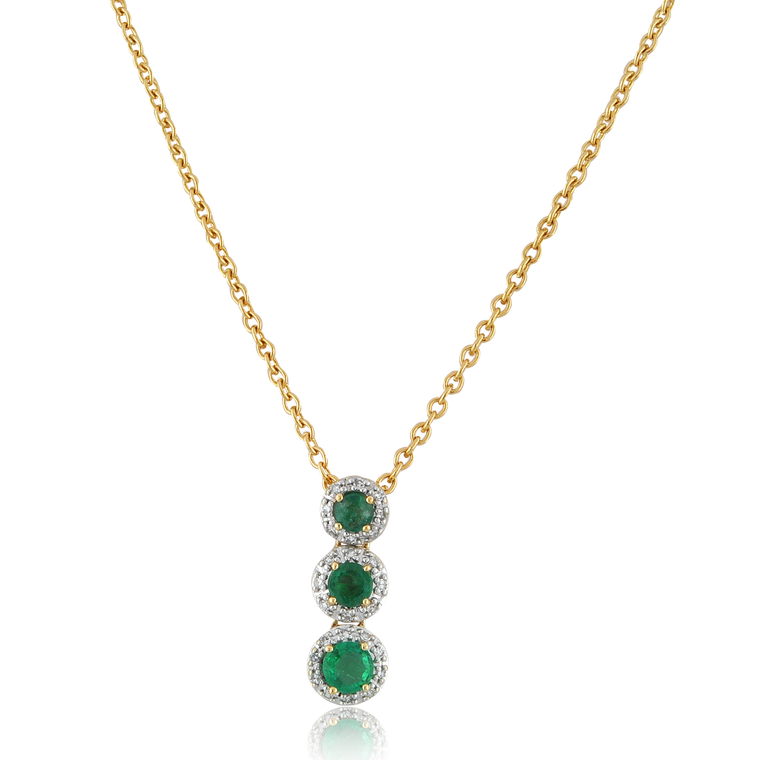 Preowned 14K Yellow Gold Emerald Diamond Triple Stone Necklace 32000578 | Shin Brothers*Preowned 14K Yellow Gold Emerald Diamond Triple Stone Necklace 32000578 | Shin Brothers*