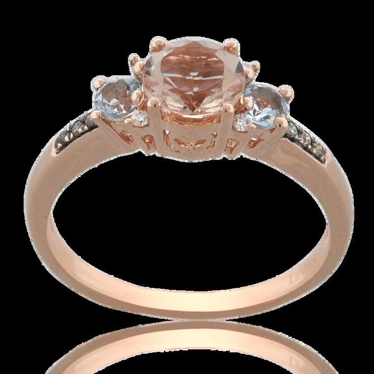 Preowned 14K Pink Gold Tourmaline/Blue Topaz/Diamond Ring 12002858   Shin Brothers*