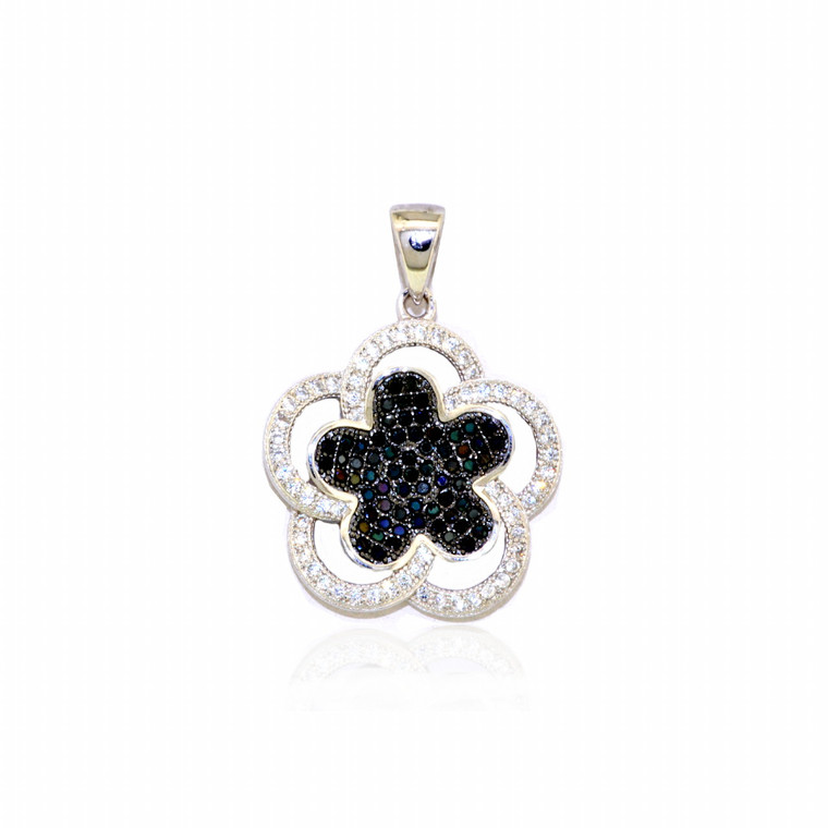Sterling Silver Blue and White CZ Flower Charm 85010541 | Shin Brothers*