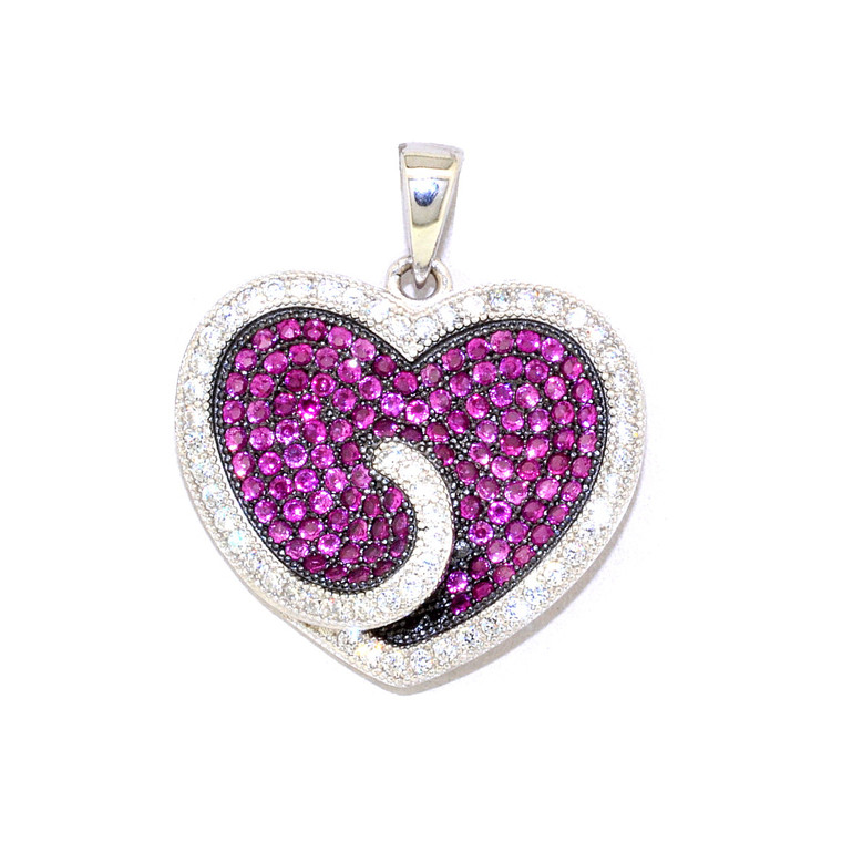 Sterling Silver Red and White CZ Heart Charm 85010540 | Shin Brothers*