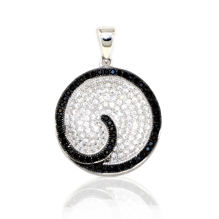 Sterling Silver Black and White CZ Circle Charm 85010543 | Shin Brothers*