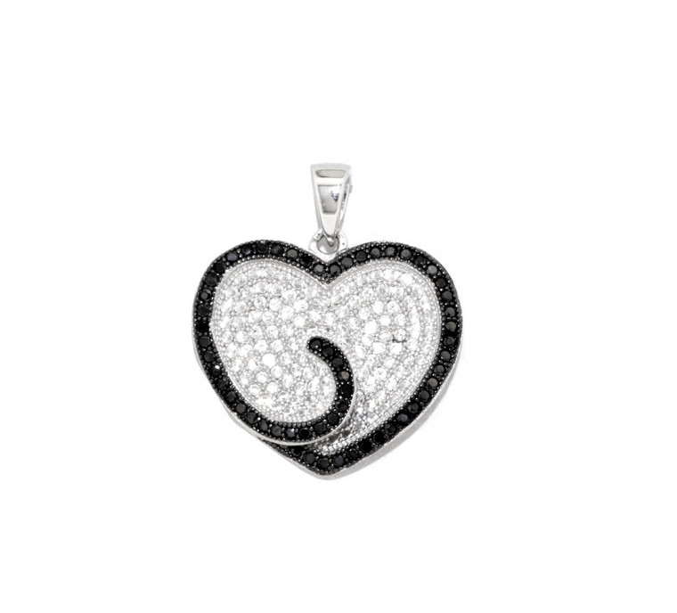 Sterling Silver Black and White CZ Heart Charm 85010542   Shin Brothers*