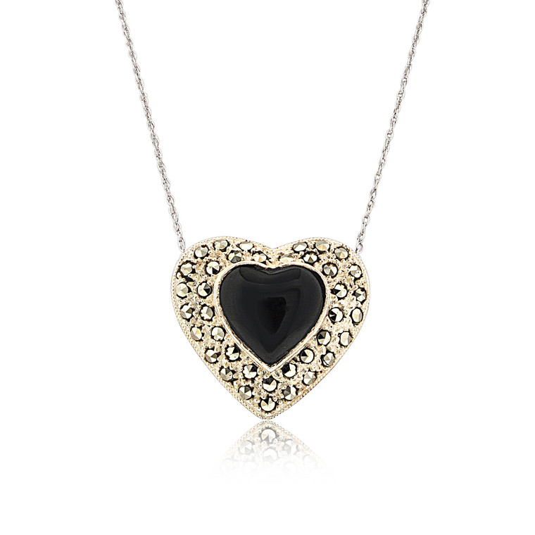 """Sterling Silver 22"""" Onyx Marcasite Heart Necklace 83210088   Shin Brothers*"""