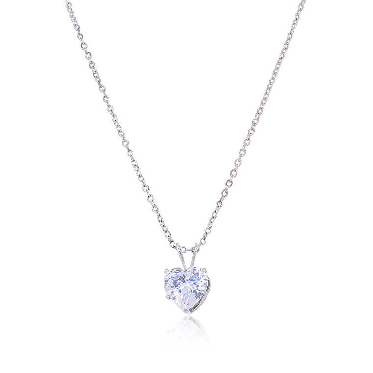Sterling Silver CZ Heart Necklace 83210089 | Shin Brothers*