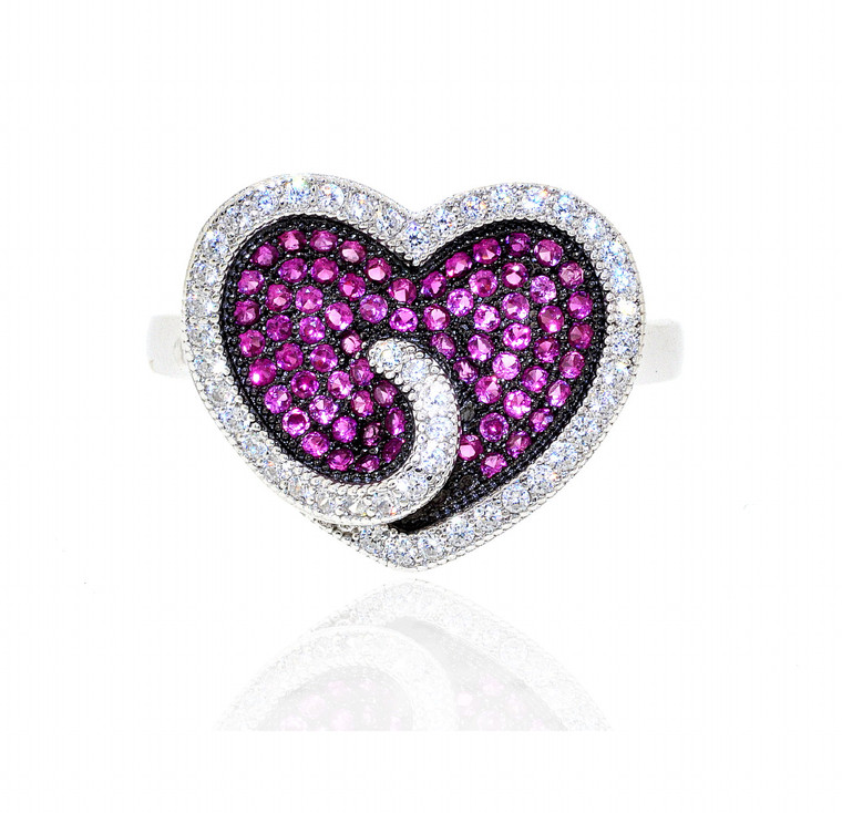 Sterling Silver Red and White CZ Heart Ring 81010537 | Shin Brothers*