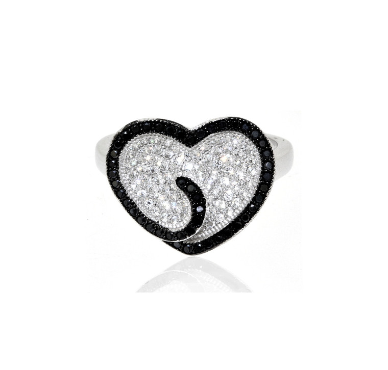 Sterling Silver Black and White CZ Heart Ring 81010539 | Shin Brothers*
