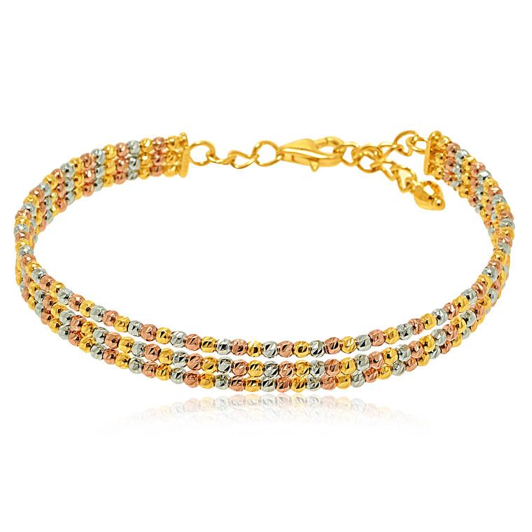 14K Tricolor Gold Triple Bead Bangle 20001473   Shin Brothers*