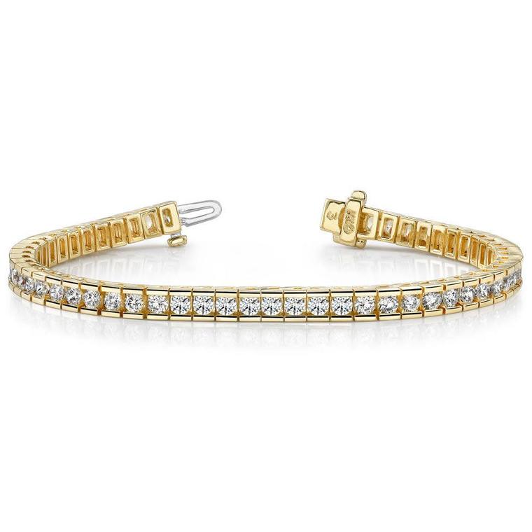 14K Yellow Gold 4.7ctw Diamond Tennis Bracelet 21000712 | Shin Brothers*