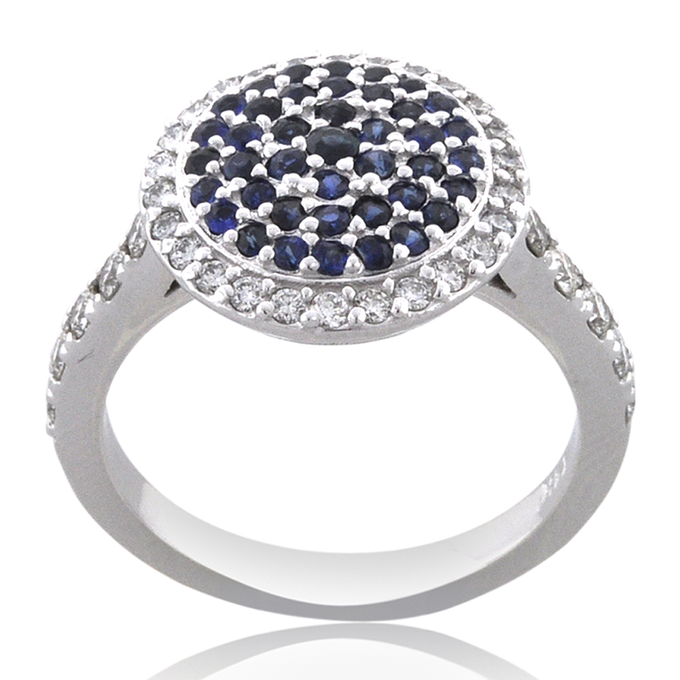 14K White Gold Sapphire Diamond Cluster Ring 12002868 | Shin Brothers*