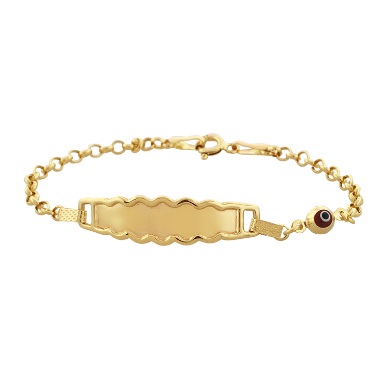 14K Yellow Gold Baby ID Bracelet with Red Eye 20001796 | Shin Brothers*