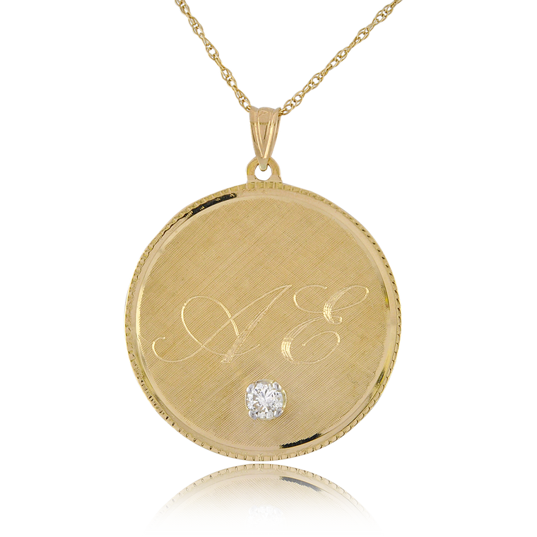 14K Yellow Gold Engravable Initial Disc Pendant with Diamond 50003605 | Shin Brothers*