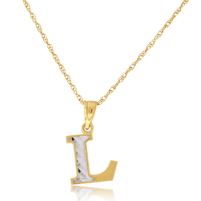 "14K Two Tone Gold ""L"" Initial Charm 50003693 
