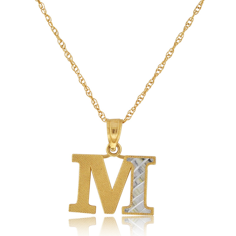 """14K Two Tone Gold """"M"""" Initial Charm 50003694   Shin Brothers*"""