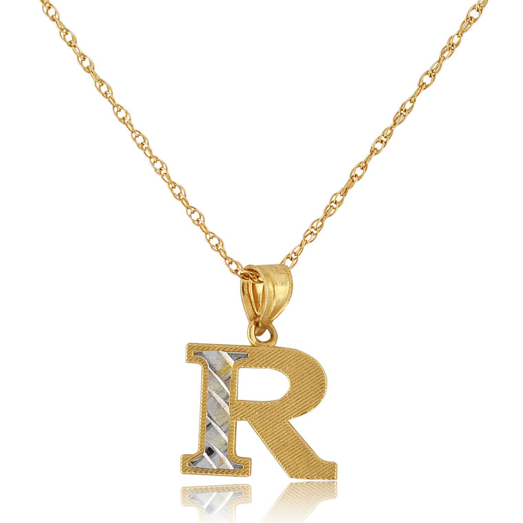 "14K Two Tone Gold ""R"" Initial Charm 50003697 