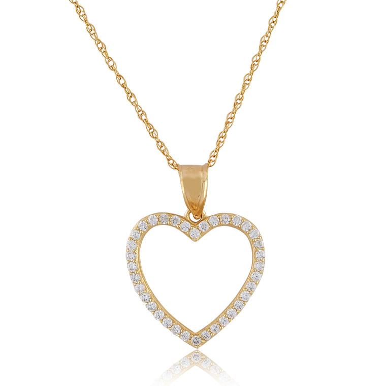 14K Yellow Gold CZ Heart Charm 52002111 | Shin Brothers*