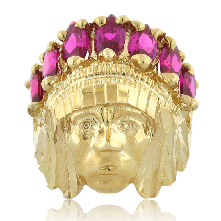 14K Yellow Gold Indian Head Ring 12002869 | Shin Brothers*