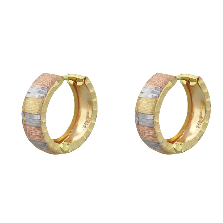 14K Tricolor Gold Huggie Hoop Earrings 40002768 | Shin Brothers*