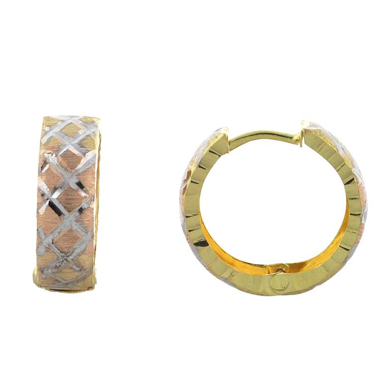 14K Tricolor Gold Huggie Hoop Earrings 40002772 | Shin Brothers*