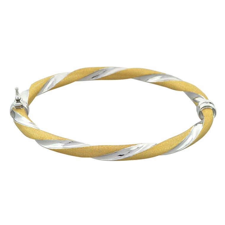 14K Two Tone Gold Twist Bangle 23000199 | Shin Brothers*