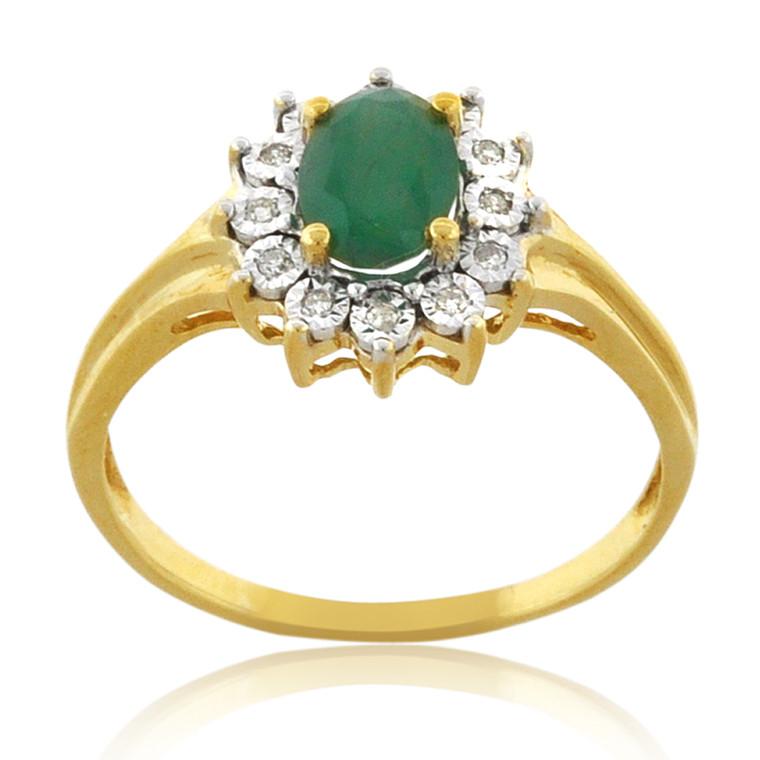 10K Yellow Gold Emerald/Diamond Flower Ring 19000243 | Shin Brothers*