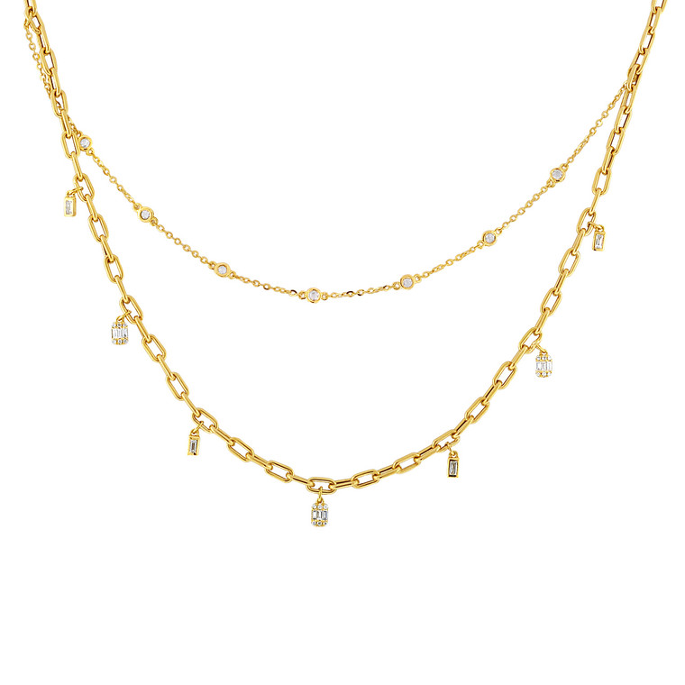 """18K Yellow Gold 18"""" Diamond Double Chain Link Necklace 31001003 