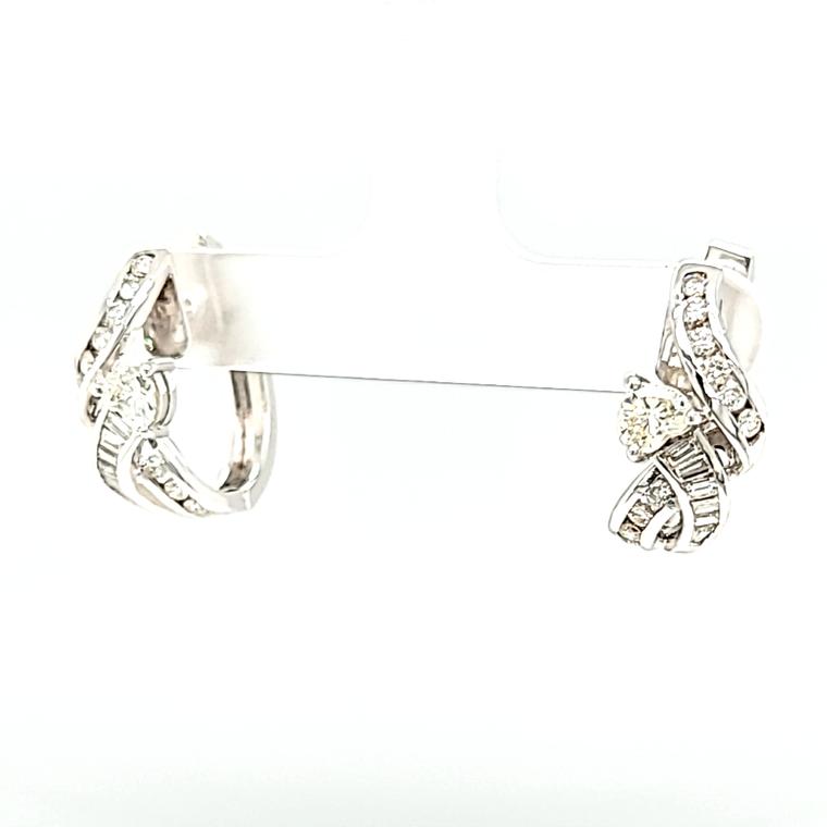 14K White Gold Diamond Huggies back Earrings 41002050   Shin Brothers*