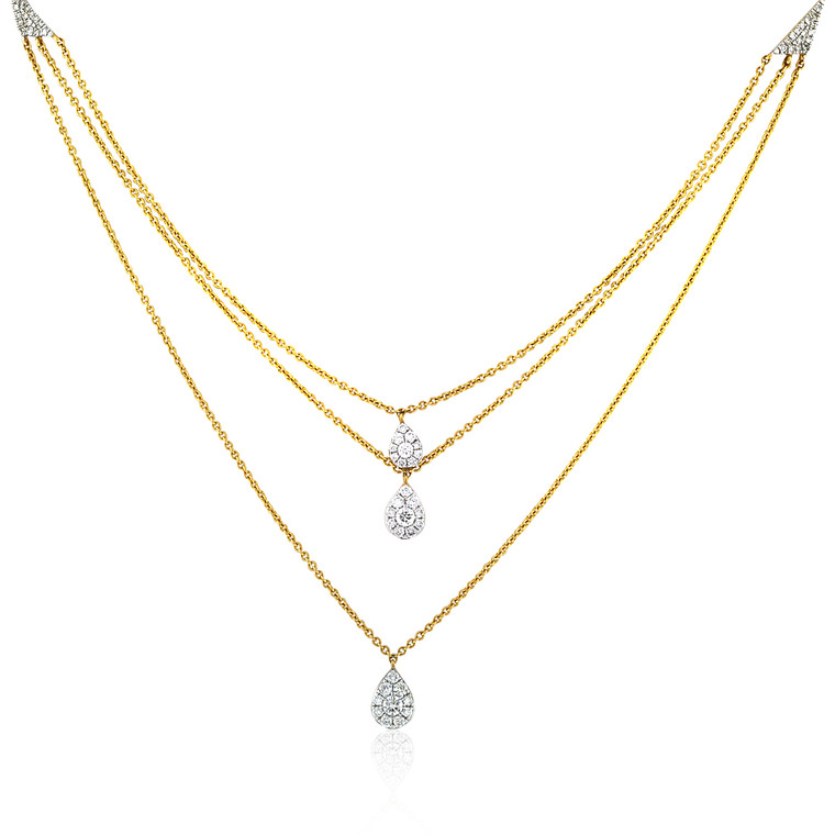 "14K Yellow Gold 16"" Triple Strand Diamond Teardrop Necklace 31001007 