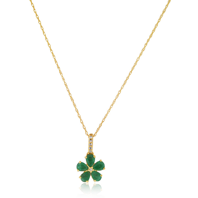 """10K Yellow Gold 18"""" Emerald Flower Necklace 39000197   Shin Brothers*"""