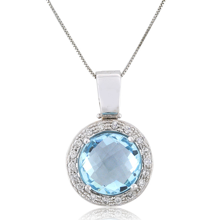 18K White Gold 15ct Blue Topaz Pendant with Diamond Accents 52002125 | Shin Brothers*