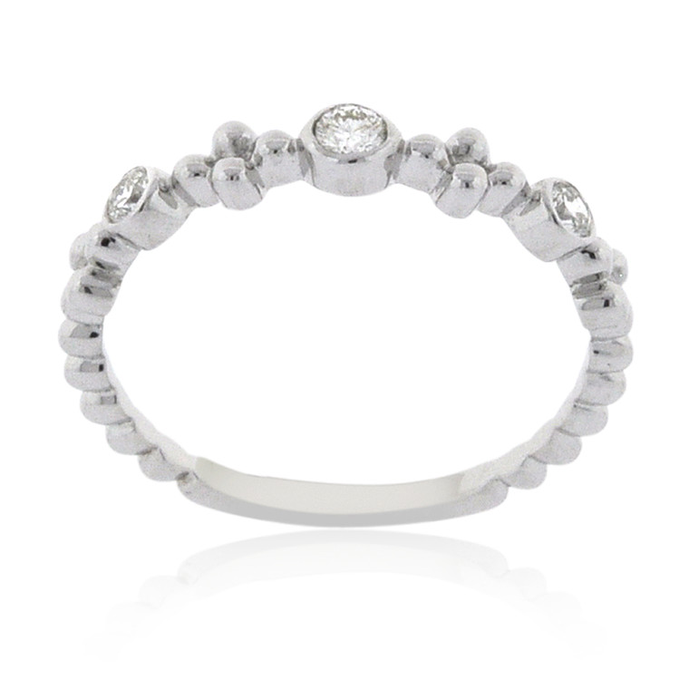 14K White Gold Diamond Beaded Ring 11006462 | Shin Brothers*