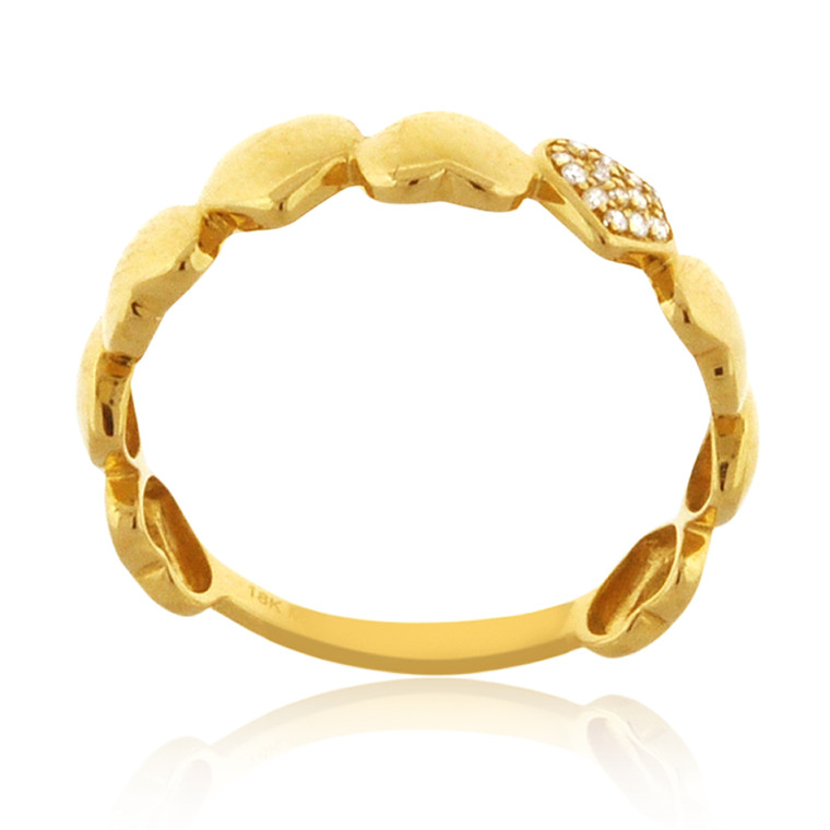 14K Yellow Gold Diamond Hearts Ring 11006463 | Shin Brothers*