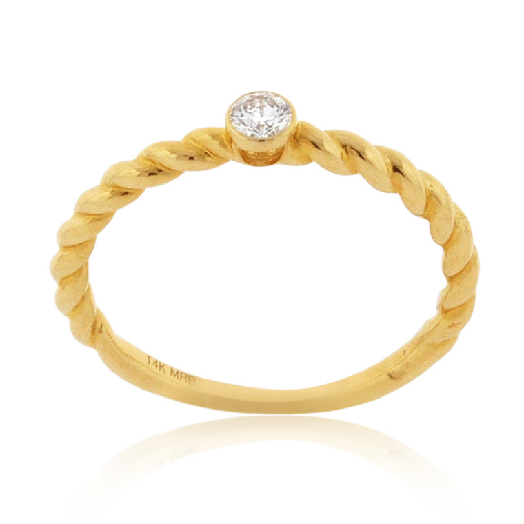 14K Yellow Gold Solitaire Diamond Twisted Ring 11006464   Shin Brothers*