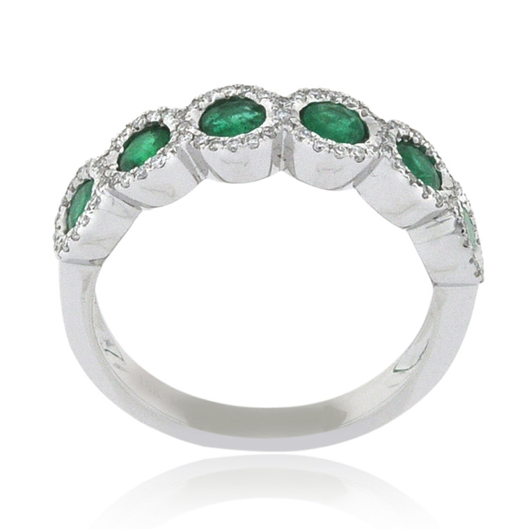 18K White Gold Emerald Ring with Diamond Accents 12002880   Shin Brothers*