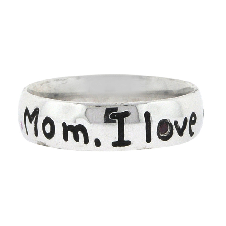 """Sterling Silver """"Mom, I love you"""" Band 81010730 