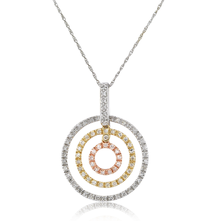 14K Tricolor Gold Triple Circle Charm with 1/2 ctw Diamonds 51002011 | Shin Brothers*