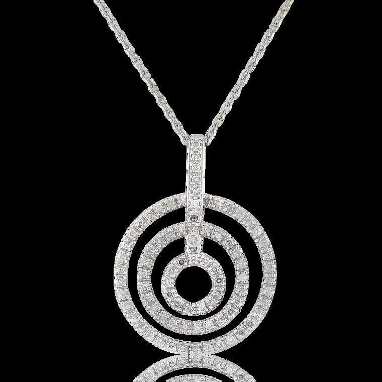 14K White Gold Triple Circle Charm with 1/2 ctw Diamonds 51002012 | Shin Brothers*
