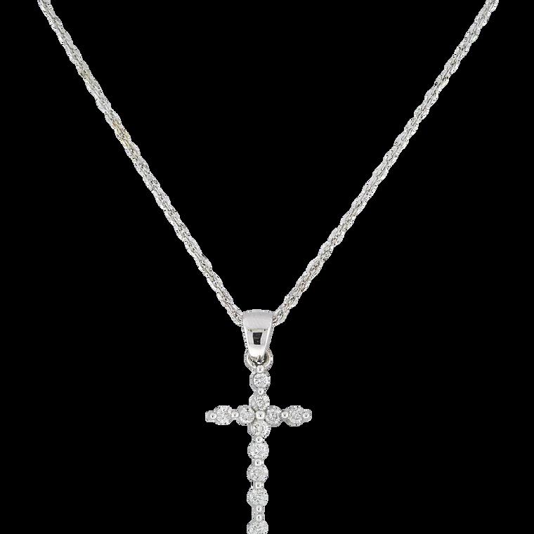 14K White Gold 1/4 ctw Diamond Cross Charm 51002014   Shin Brothers*