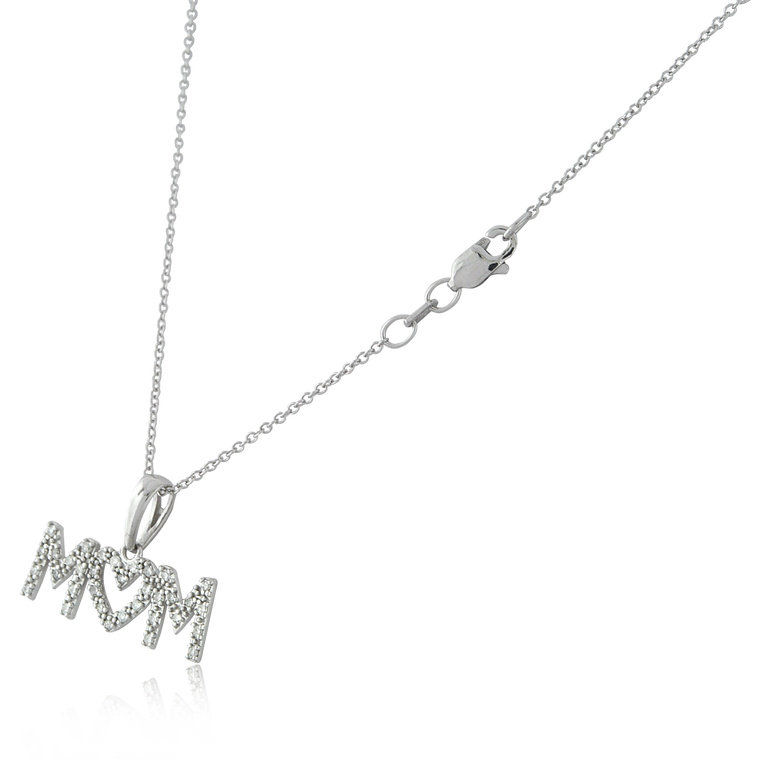 "10K White Gold Diamond ""M♡M"" Necklace 59110046 