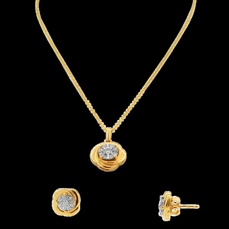 14K Yellow Gold Diamond Charm & Stud Earrings Set 71010001 | Shin Brothers*