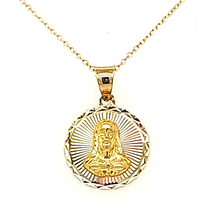 14K Tricolor Gold Diamond Cut Jesus Christ Charm 50003788 | Shin Brothers*