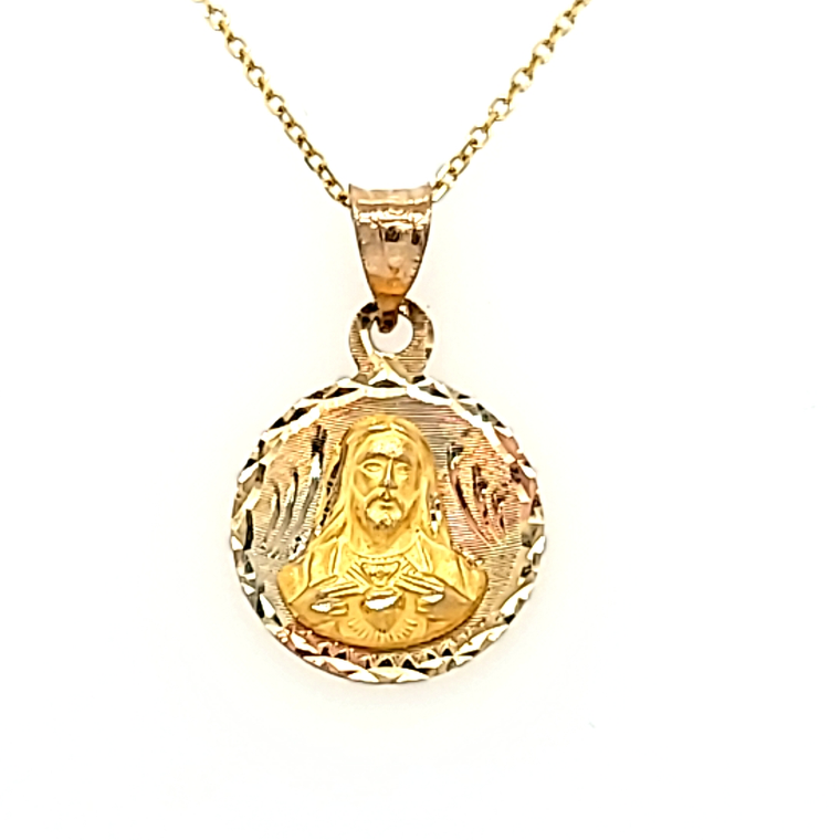 14K Tricolor Gold Diamond Cut Jesus Christ Charm 50003789 | Shin Brothers*