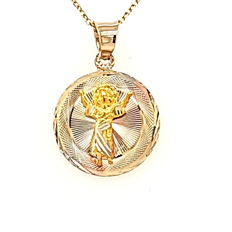 14K Tricolor Gold Diamond Cut Angel Charm 50003791 | Shin Brothers*