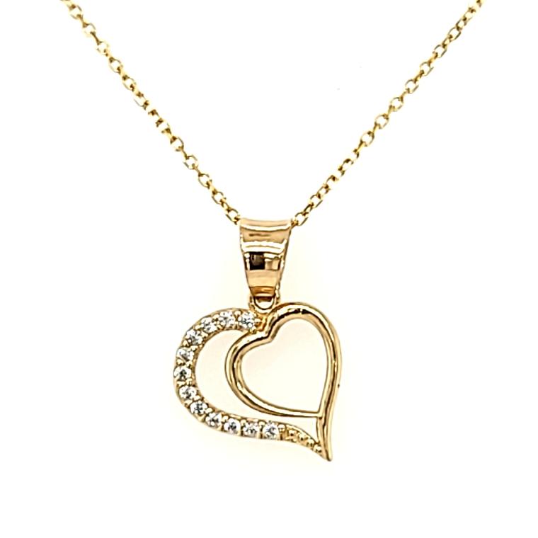 14K Yellow Gold CZ Heart Charm 52002135 | Shin Brothers*