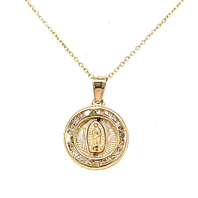 14K Yellow Gold CZ Virgin Mary Charm 52002136 | Shin Brothers*