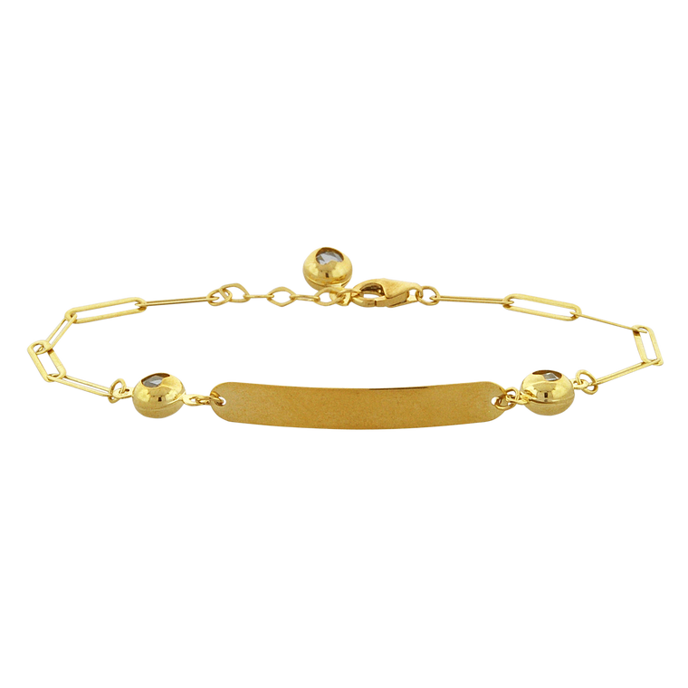 14K Yellow Gold ID Paper Clip Bracelet 20001815 | Shin Brothers*