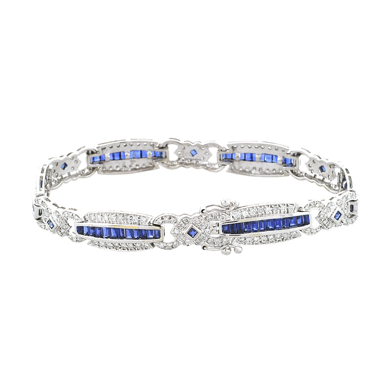 14K White Gold Sapphire Diamond Bracelet 22000840   Shin Brothers*